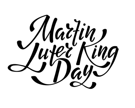 Martin Luter King day - hand lettering inscription to design, black and white ink calligraphy, vector illustration Иллюстрация