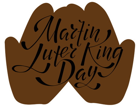 Martin Luter King day - hand lettering inscription to design, black and white ink calligraphy, vector illustration Illustration