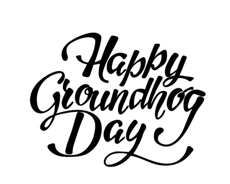 Happy Groundhog Day - hand lettering inscription to design, black and white ink calligraphy, vector illustration