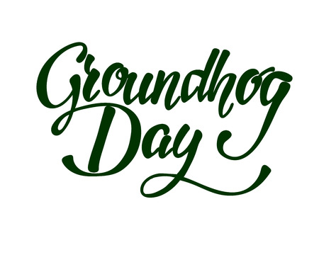 Happy Groundhog Day hand lettering inscription to design, black and white ink calligraphy, vector illustration. Illustration