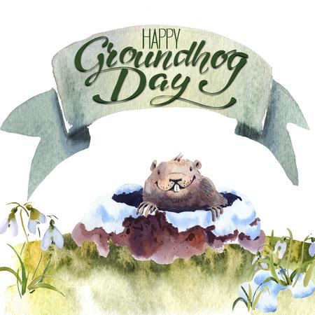 Feliz dia da marmota - mão de mão desenho aquarela cartão ilustração de marmota Foto de archivo - 93254218