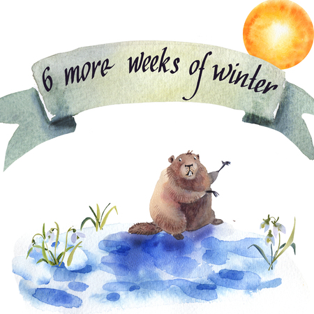 Happy Groundhog Day - hand hand drawing watercolor card groundhog illustration