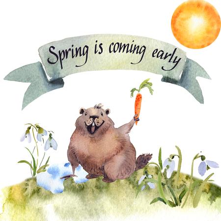Giorno della marmotta felice - marmotta della carta dell'acquerello del disegno della mano