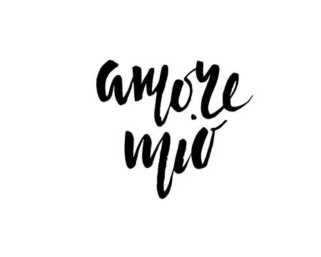 Amore mio. Valentines day calligraphy glitter card. Hand drawn design elements. Handwritten modern brush lettering.