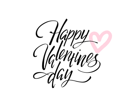 Vector Happy Valentines Day Vintage Card With Lettering Illustration