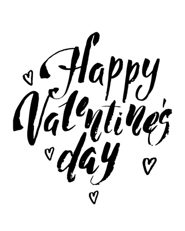 Happy Valentines Day Vintage Card With Vector Lettering