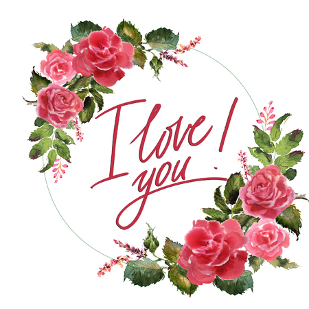 Valentine Flower Wreath. Watercolor flower illustration with inscription i love you Banco de Imagens - 93835156