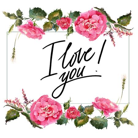 Grinalda de flores dos namorados. Aquarela mão desenho ilustração de flor com a inscrição eu te amo Foto de archivo - 93564256
