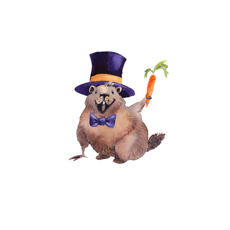 Happy Groundhog Day - hand hand drawing watercolor card groundhog