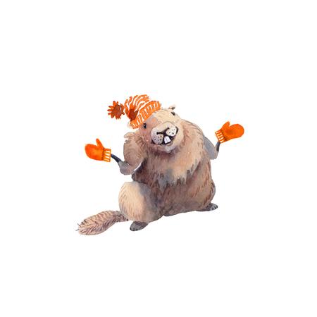 Feliz dia da marmota - mão de mão desenho aquarela cartão ilustração de marmota