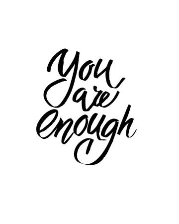 You are enough, I heart you, Valentines day calligraphy glitter card hand drawn design elements. Handwritten modern brush lettering. Ilustração