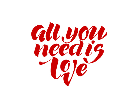 All you need is love. Valentines day calligraphy glitter card. Hand drawn design elements. Handwritten modern brush lettering. Illustration
