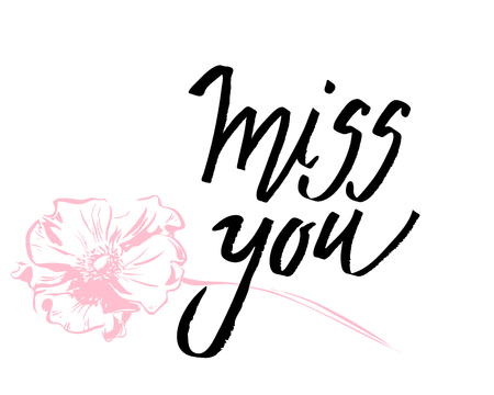 I miss you. I heart you. Valentines day calligraphy glitter card. Hand drawn design elements. Handwritten modern brush lettering.