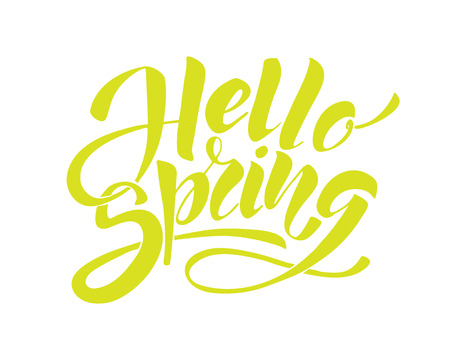 hello spring - hand lettering inscription to winter holiday design, color ink calligraphy Illustration
