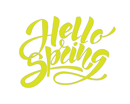 Hello spring - hand lettering inscription to winter holiday design, black and white ink calligraphy Illustration