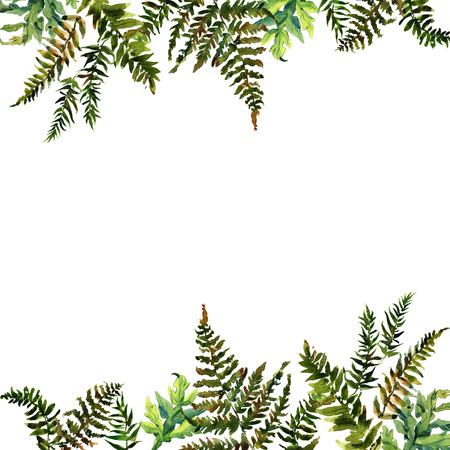Forest tern watercolor wreath frame design with place for date and text. Bracken grass green border, fern illustration.