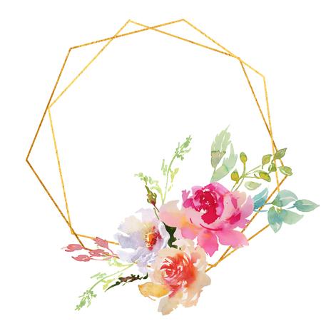 Dibujo a mano acuarela boda marco guirnalda flores verdes y púrpuras ornamento Foto de archivo