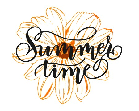 Summer time - hand lettering inscription to summer holiday design, black and white ink calligraphy