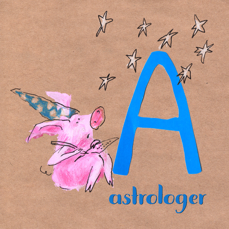 Alphabet for children with pig profession. Letter A. Astrologer