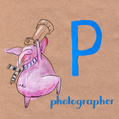 Alphabet for children with pig. Letter A. Astrologer craft phone Stock Photo - 105824215