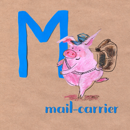Alphabet for children with pig. Letter M. Mail carriercraft phone Stock fotó