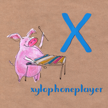 Alphabet for children with pig. Letter X. Xylophoneplayer craft phone