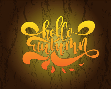 Hello autumn. Hand drawn calligraphy and brush pen lettering. design for holiday greeting card and invitation of seasonal autumnholiday.
