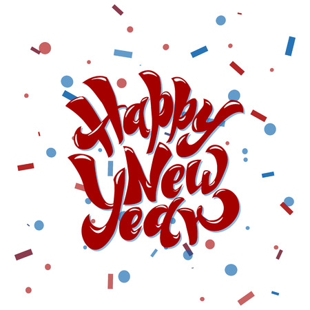 Happy New 2019 Year. Holiday Vector Illustration With Lettering Composition and Burst Vintage Festive Label