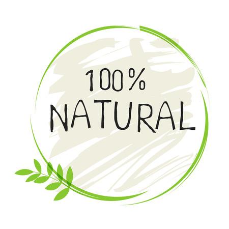 Naturprodukt 100 Bio-gesundes Bio-Label und hochwertige Produktabzeichen. Vektorgrafik