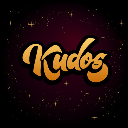 Bravo Kudos. Beautiful greeting card scratched calligraphy text word Kudos Bravo. Hand drawn invitation T-shirt print design. Handwritten modern brush lettering isolated vector Illusztráció