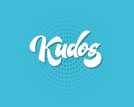 Bravo Kudos. Bella cartolina d'auguri graffiato parola di testo calligrafia Kudos Bravo. Disegno di stampa t-shirt invito disegnato a mano. Scritto a mano moderno pennello lettering vettore isolato
