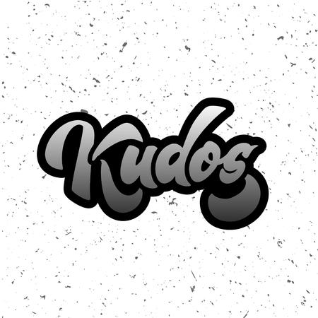Bravo Kudos. Beautiful greeting card scratched calligraphy text word Kudos Bravo. Hand drawn invitation T-shirt print design. Handwritten modern brush lettering isolated vector Иллюстрация