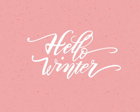 Hello winter. Hand drawn calligraphy and brush pen lettering. design for holiday greeting card and invitation of seasonal winter holiday. black on white