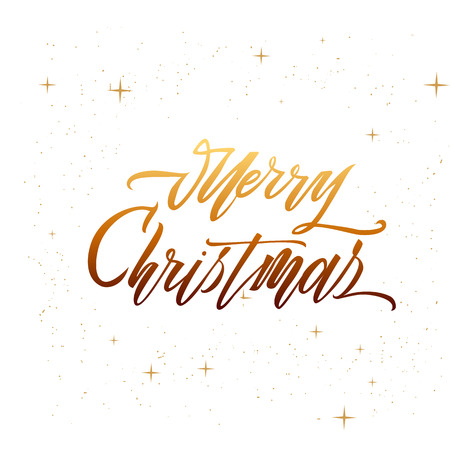 Merry christmas text vector on white background. Lettering for invitation, wedding and greeting card, prints and posters. Hand drawn inscription, love calligraphic design Иллюстрация