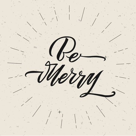 Be Merry Christmas text design. Vector logo, typography. Usable as banner, greeting card, gift package.