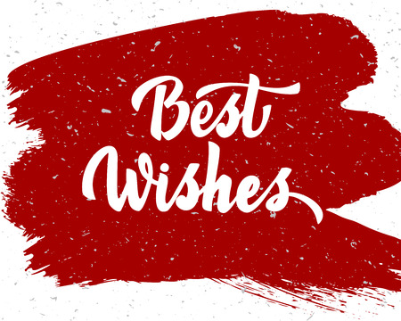 Best wishes - hand lettering inscription to winter holiday design, black and white ink calligraphy, vector illustration Иллюстрация