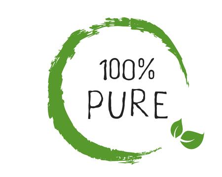 100 etichette Pure e distintivi per prodotti di alta qualità. Bio sano Eco cibo icona del prodotto biologico, bio e naturale. Emblemi per caffè, imballaggio. Vettore