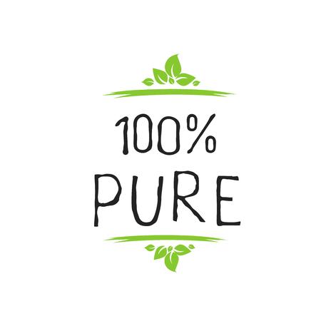100 Pure Label und hochwertige Produktplaketten. Bio gesundes Öko-Lebensmittel Bio-, Bio- und Naturprodukt-Symbol. Embleme für Café, Verpackung. Vektor