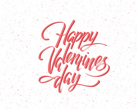 Happy Valentines day, hand written lettering. Romantic calligraphy card inscription. Valentine day
