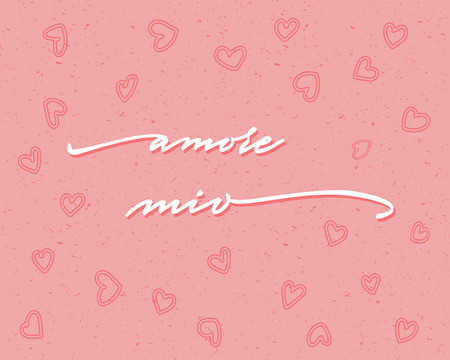 Amore mio Happy Valentines Day Hand Lettering - Typographical Background Set with ornaments, hearts, ribbon, angel and arrow Ilustracja