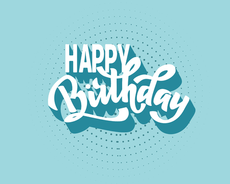 Happy birthday vintage hand lettering, brush ink calligraphy, vector type design, isolated on background.