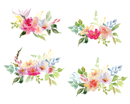 Hand drawing watercolor Wedding bridal bouquet romanric rusticred and pink and green flowers ornament