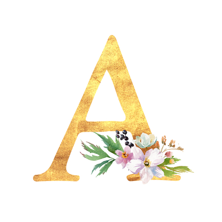 Ronantic gold letter A with drawn watercolor flowers. Elegant emblem for book design, brand name, wedding invitation thanks card.