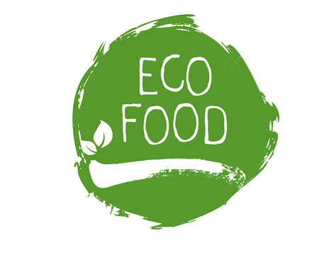 Eco food label and high quality product badges. Bio healthy organic, 100 bio and natural product icon. Emblems for cafe, packaging . Vector