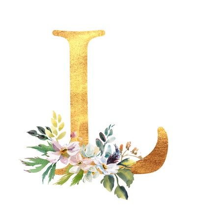 Romantic gold letter A with drawn watercolor flowers. Elegant emblem for book design, brand name, wedding invitation thanks card