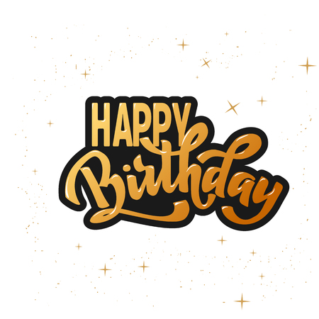 Happy birthday hand lettering text, brush ink calligraphy, vector type design, isolated on white background.