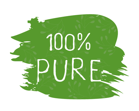 100 Pure label and high quality product badges. Bio healthy Eco food organic, bio and natural product icon. Emblems for cafe, packaging etc. Vector