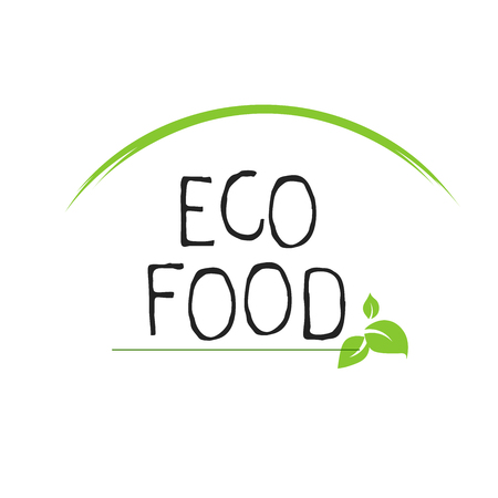 Eco food label and high quality product badges. Bio healthy organic, 100 bio and natural product icon. Emblems for cafe, packaging etc. Vector Çizim