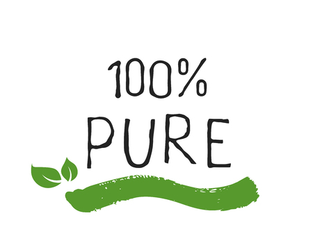 100 Pure label and high quality product badges. Bio healthy Eco food organic, bio and natural product icon. Emblems for cafe, packaging . Vector