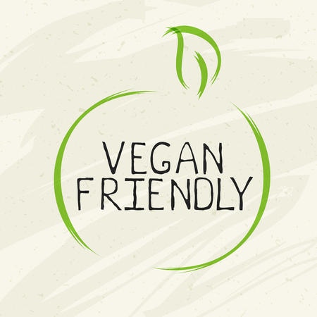 Vegan friendly label and high quality product badges. Bio Home made food Organic product Pure healthy Eco food organic, bio and natural product icon. Emblems for cafe, packaging Çizim